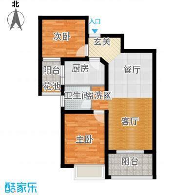 月星环球86.00㎡二室二厅一卫 面积:86平米户型2室2厅1卫