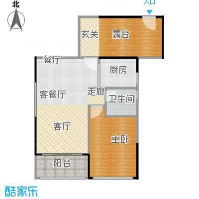 上品花园66.65㎡6栋04偶数层户型1室1厅1卫