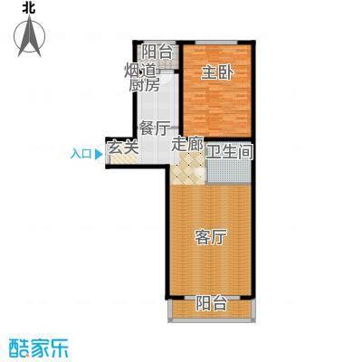 畅心园3号楼D户型102.64平方米户型1室1厅1卫