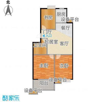 蔚海新天地88.90㎡WD2正面户型3室2厅1卫