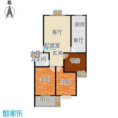 滨海花园97.24㎡B户型 三室一厅一卫户型3室1厅1卫