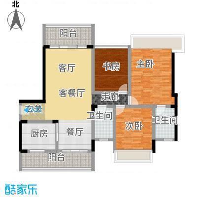 润达幸福汇125.00㎡5、6栋02户型 125平米 三房二厅二卫户型3室2厅2卫