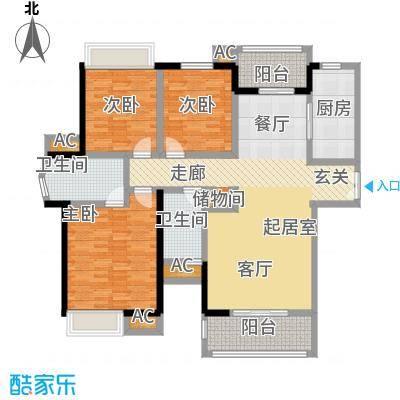 明发锦绣银山B区5-7H1户型3室2厅2卫-T