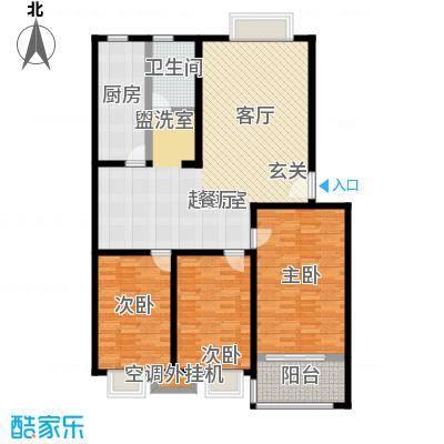 昊海花园125.58㎡一期多层 G户型 三室两厅一卫户型3室2厅1卫