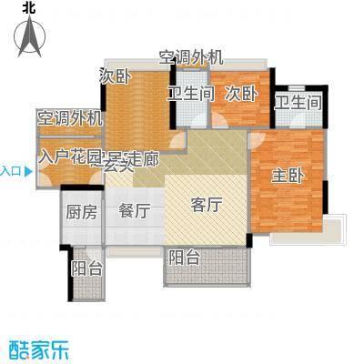 富湾国际120.00㎡3栋02单位户型图户型3室2厅2卫
