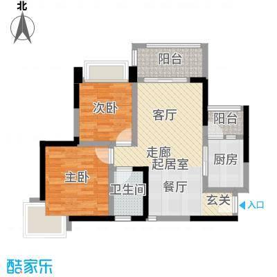 大信君汇湾K8栋05户型2室1卫1厨