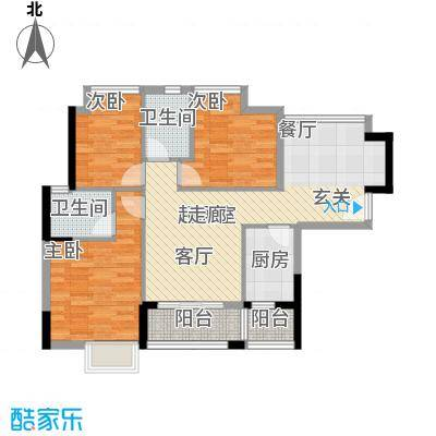 江南红95.00㎡1栋01户型三房两厅两卫户型3室2厅2卫