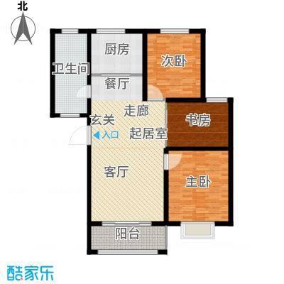 新城湖光山舍115.18㎡12/14#J户型三室两厅一卫户型3室2厅1卫