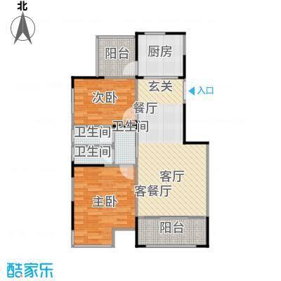 绿地新都会15#A1户型2室1厅3卫1厨