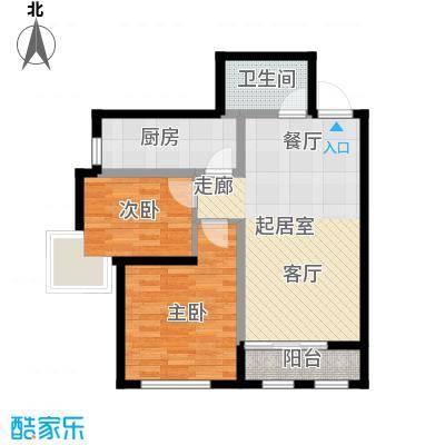 富城茗居二期85.43㎡6#7#G2-2户型2室2厅1卫