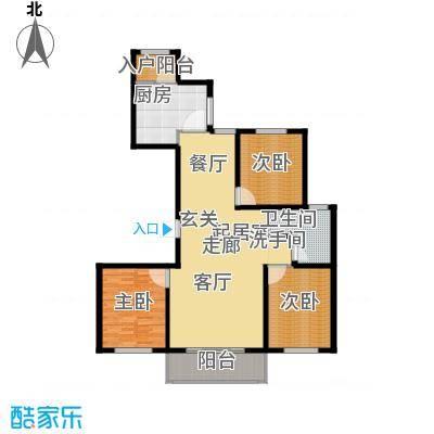 新城湖光山舍140.05㎡11/13/15#B1户型 三室两厅一卫户型3室2厅1卫