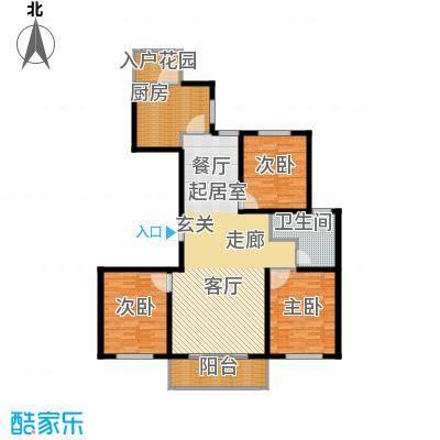 新城湖光山舍139.95㎡11/13/15#B1户型 三室两厅一卫户型3室2厅1卫