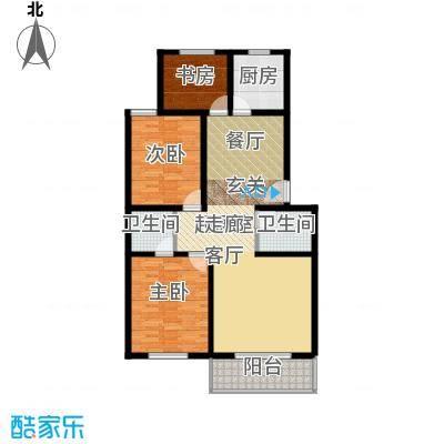 鑫河湾120.13㎡两室两厅两卫户型3室2厅2卫