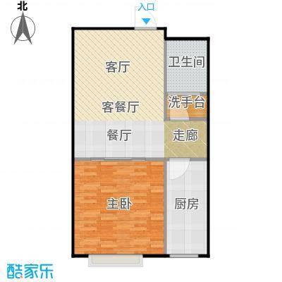潍坊世贸中心69.18㎡D户型 一室两厅一卫户型1室2厅1卫
