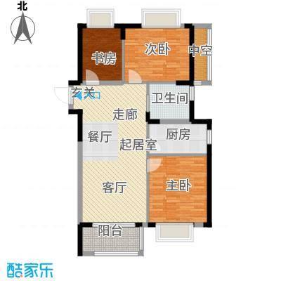 润园90.00㎡90平米三房户型图户型3室2厅1卫