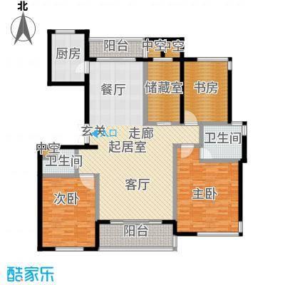 金色水岸三室二厅二卫――168平米户型