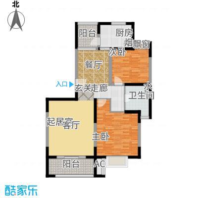 金港河滨华城103.46㎡二房二厅一卫,面积约104平方米户型