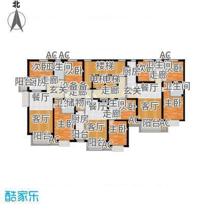 亚太国际公馆F单元标准层户型