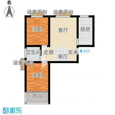 盛海第一园78.96㎡3号楼标准层A户型 2室2厅1卫户型2室2厅1卫