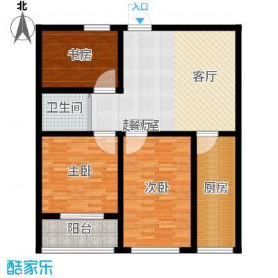 骏龙花园91.42㎡C户型 三室两厅一卫户型3室2厅1卫