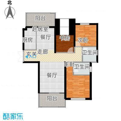 南阳建业凯旋广场户型3室2卫1厨