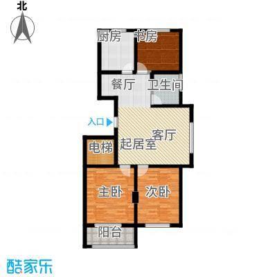 金马怡园110.00㎡三室两厅一卫户型3室2厅1卫