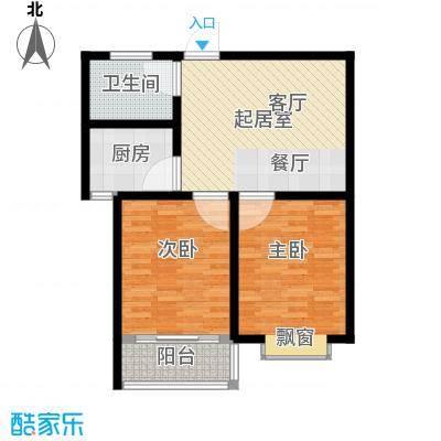 金马怡园78.00㎡两室一厅一卫户型2室1厅1卫