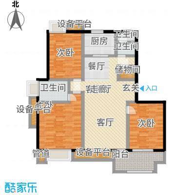 亚东朴园116.00㎡Q1户型3室2厅2卫
