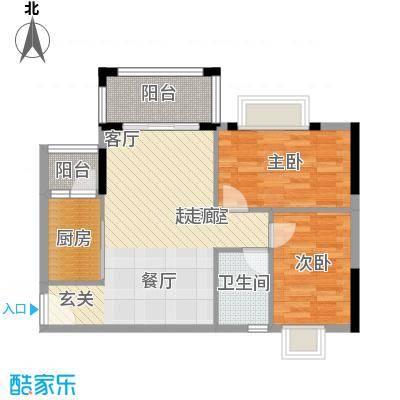江南红77.00㎡6栋04户型三房两厅两卫户型2室2厅1卫