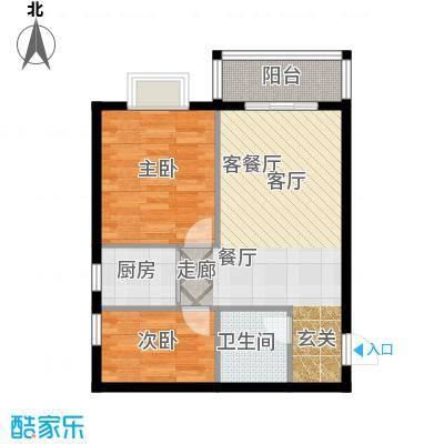 东方新天地户型2室1厅1卫1厨
