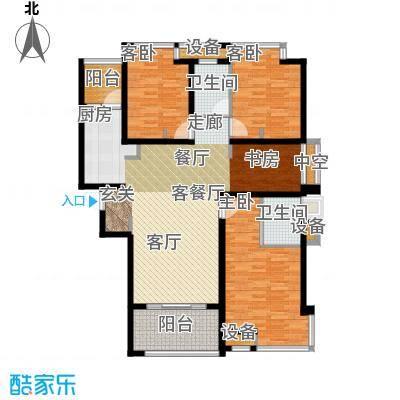 华鸿水云四季130.00㎡三房二厅二卫 130平米户型2室2厅2卫