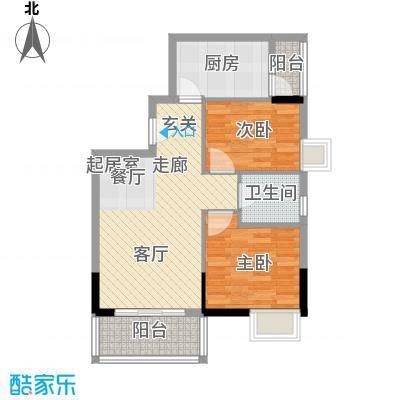 江南红76.00㎡6栋03户型两房两厅一卫户型2室2厅1卫