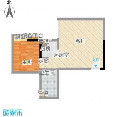 达兴豪苑58.44㎡58.44平米 一房二厅一卫户型1室2厅1卫