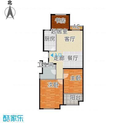 金山福地二期110.00㎡三室二厅一卫 面积:99-110平方米户型3室2厅1卫