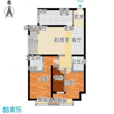 雅宾利花园129.01㎡一期K2户型 3室2厅2卫户型3室2厅2卫
