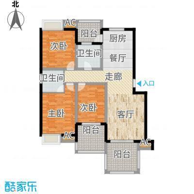 赞成丽景苑三房两厅两卫,面积129M2户型