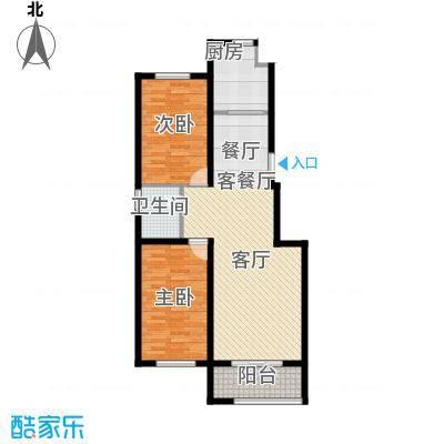 宏业都市华庭户型2室1厅1卫1厨