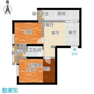 雅宾利花园73.85㎡D3户型 二室二厅一卫户型2室2厅1卫