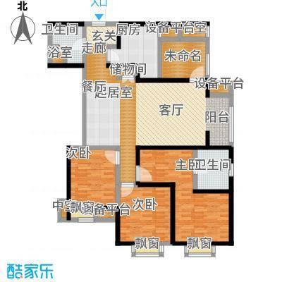 雅宾利花园138.45㎡J1户型 四室二厅二卫户型4室2厅2卫