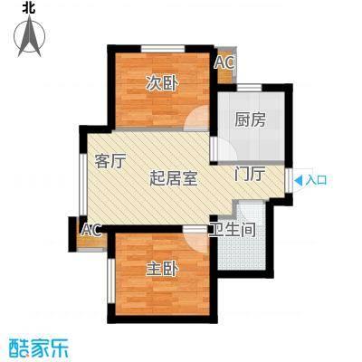 亚泰城59.17㎡二期A1户型 二室二厅一卫户型2室2厅1卫