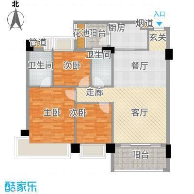 中澳滨河湾105.00㎡1、2栋01、02户型3室2厅1卫