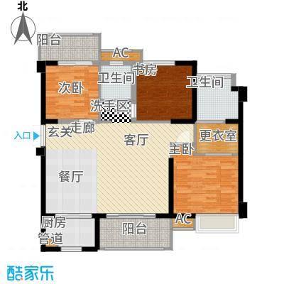 中骏四季阳光110.00㎡E户型三房两厅两卫 面积约110平户型3室2厅2卫