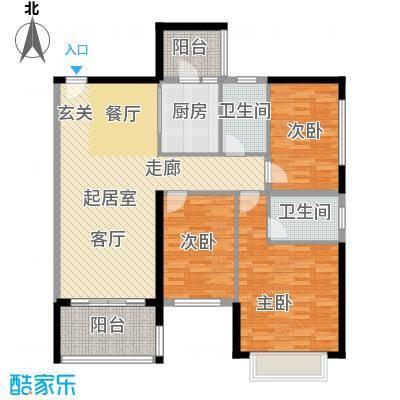 恒大绿洲111.09㎡25栋01户型3室2厅2卫