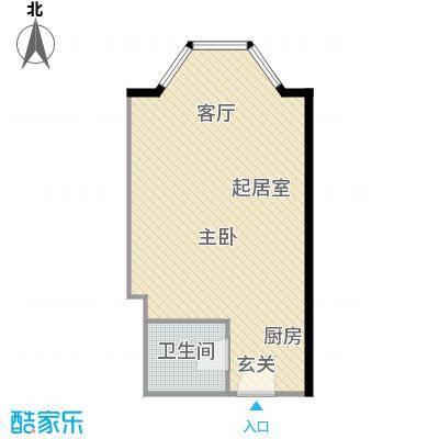 中山路5号商务公馆57.00㎡一室一厅一卫户型1室1厅1卫