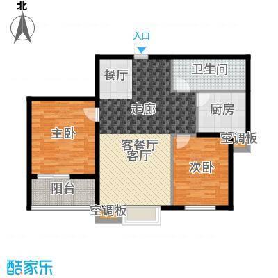 香溪茗苑91.91㎡5-G户型两室两厅一卫户型2室2厅1卫