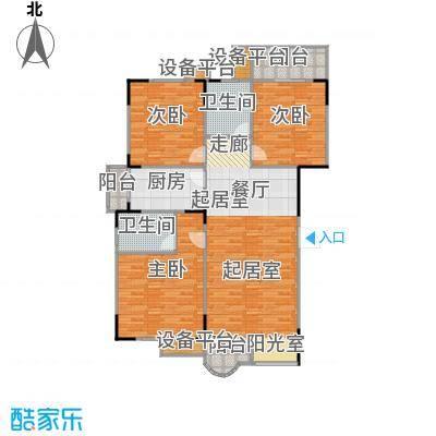 檀梨小区(三期)132.68㎡房型: 三房; 面积段: 132.68 -142.35 平方米;户型