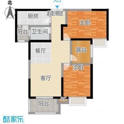 君河湾108两室两厅一卫户型2室2厅1卫