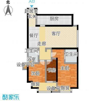 雅宾利花园122.36㎡一期I1户型 3室2厅2卫户型3室2厅2卫