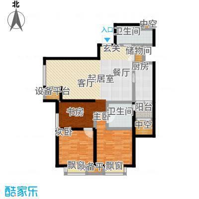 雅宾利花园124.34㎡H1户型 3室2厅2卫户型3室2厅2卫