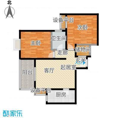 龙首领域88.00㎡88平米两室一厅一厨一卫户型